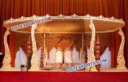 Indian Shadi Wooden Carved Mandap