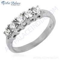 Charming Cubic Zirconia Gemstone Silver New Ring