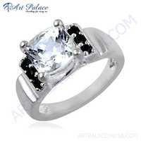 Delight Black Onyx & Cubic Zirconia Gemstone Silver Ring
