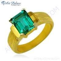 Dazzling Green Cubic Zirconia Gemstone Silver Gold Plated Ring