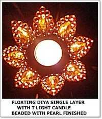 Single Layer Floating Diya with Candle Beaded