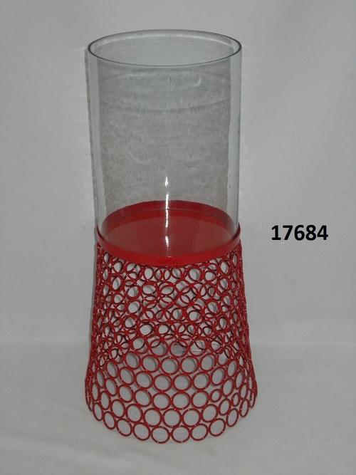 Iron Pillar Holder With Glass