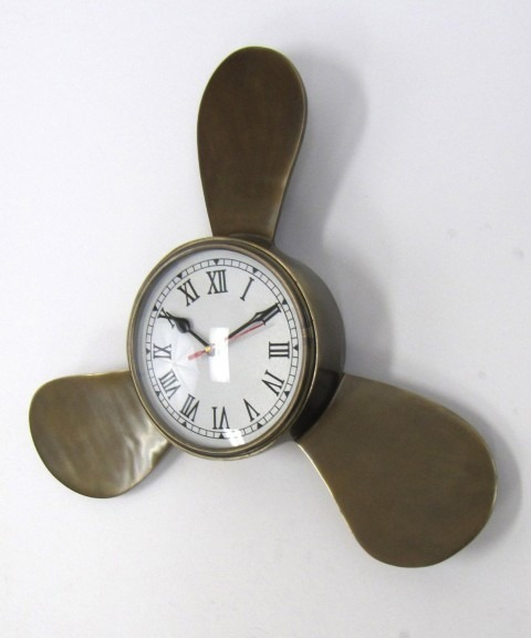 Aluminum Propellor Clock Antique Finish 16''