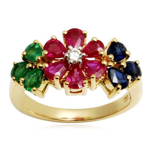 multi color precious gemstone womens gold ring