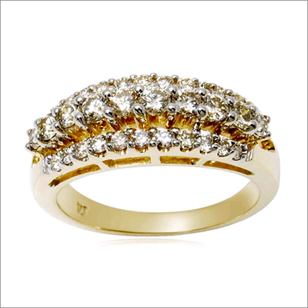 three row white real diamond engagement solid 18k gold ring for brides yellow gold jewellery ring