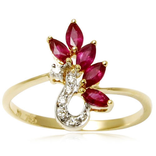 five stone marquise ruby and diamond gold jewelry ring 	ruby jewelry rings	light weight jewelry