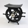 Wooden Pirate Ship Wheel Table with Aluminum Hub   15½