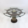 Ship wheel table, glass rope base 36''