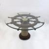 Ship wheel table, glass rope base 36''
