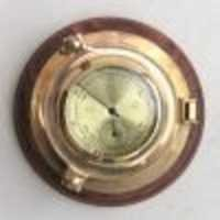 Porthole Barometer / Thermometer on Wood Base  7''