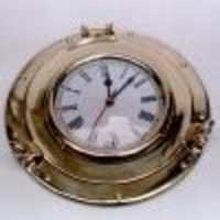 Brass Porthole Clock 6''