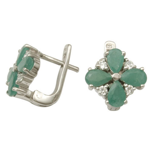 flower shaped green silver earring at wholesale for girls, wholesale silver, emerald silver jewelry