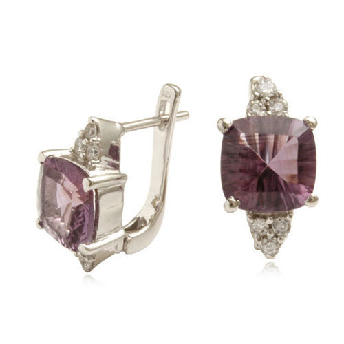 concave cut six corner brazil gemstone english lock earring, latest jewelry design, amethyst silv