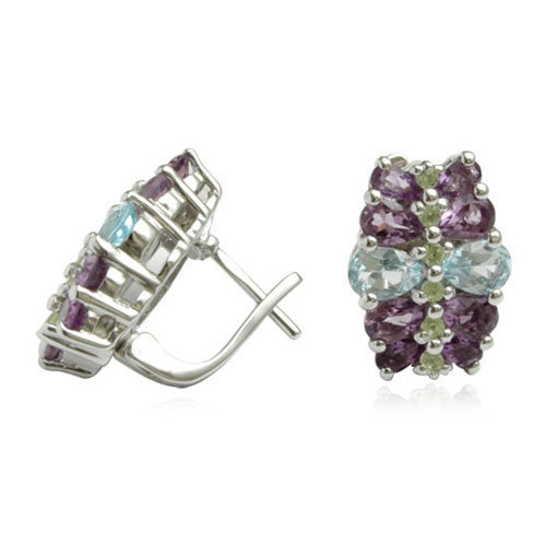 blue topaz amethyst and peridot designer earring supplier, designer jewelry supplier, indian jewelry