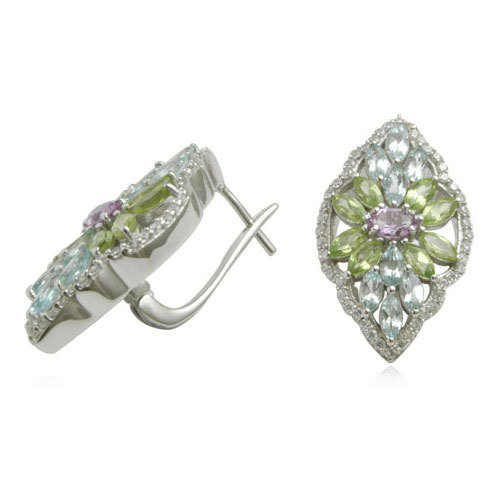 multi color  gemstone big earring in 925 sterling silver online, online silver jewelry, semiprecious