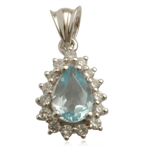 classic blue topaz and cz studded silver gemstone pendant wholesale,silver pendant, topaz jewel
