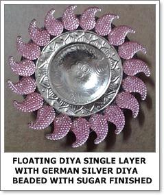 Floating Diya Single Layer with German Silver Diya