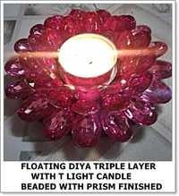 Triple Layer Floating Diya with Light Candle