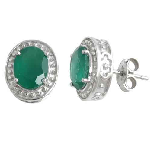 Oval Shaped Green Agate Silver Push Earring Tops