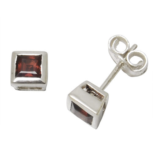 bezel set princess cut garnet gemstone studs daily wear cute girls, red silver earring, studs earr