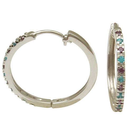 Blue topaz in amethyst studded round hoop earring baali design, 925 sterling silver jewellery, whol