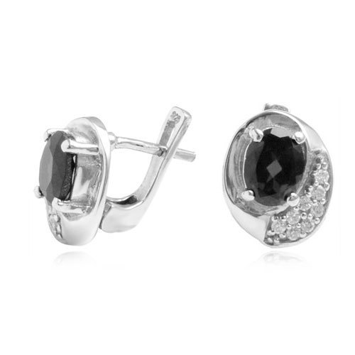 micro pave cz studded oval shaped earring tops silver, black onyx silver jewelry, silver manu