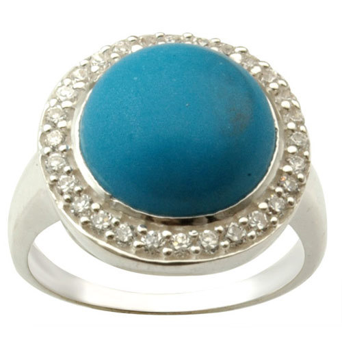 turquoise cabochane round cab cz studded silver color stone ring, indian silver jewelry, turq