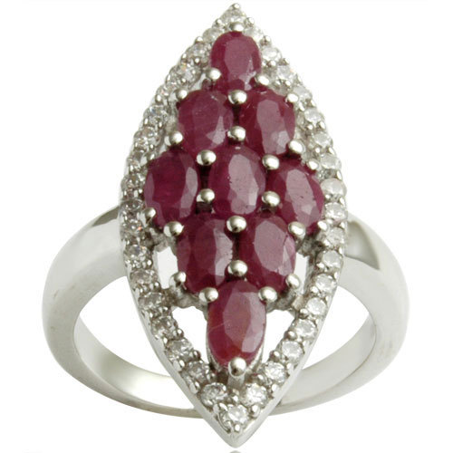 big ring studded with african ruby and cz in 925 sterling silver design, ruby jewelry, russian sil