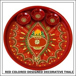 Red Colored Design Decorative Thali
