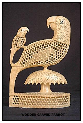Wooden Carved Parrot