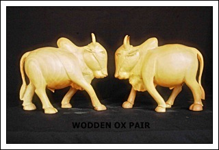 Wooden Ox Pair