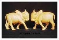 Wooden Ox Pair