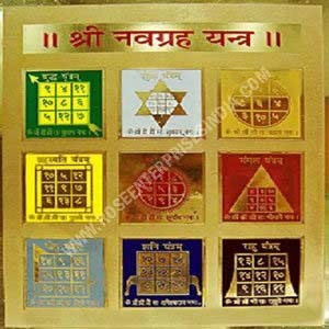24 Kt Gold Plated Brass Navgrah Yantra Plate