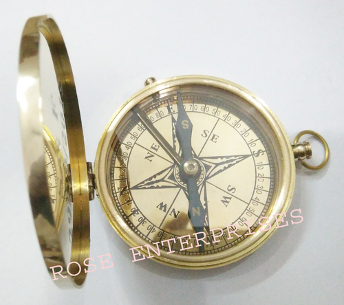 Brass Finish Flap Pocket Compass