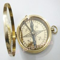 Brass Polished Flap Pocket Compass