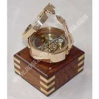 Marine Brass Brunton Compass with Wooden Box