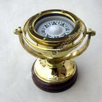 Nautical Vintage Brass Gimbal Compass with Base