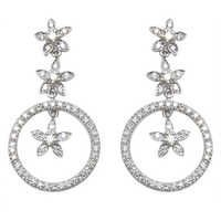hanging drop diamond white gold with flower in center design, diamond drop earring, hanging jewelry