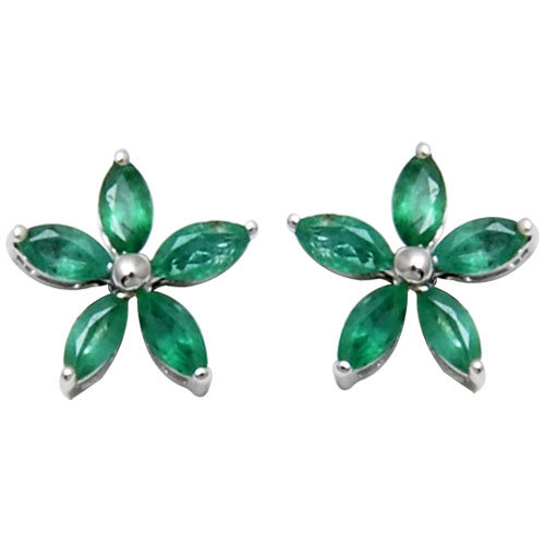 emerald jewelry, green gemstone marquies emerald flower  tops in 18k solid gold earrings, ind