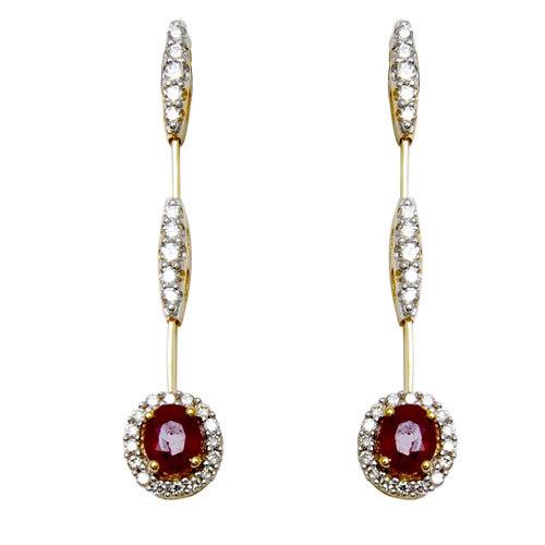 indian jewellery, ruby jewellery, pressure setting diamonds with red bangkok rubies designer earring