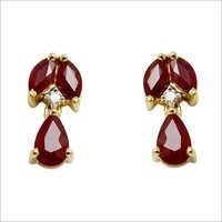 jewelry online , color stone diamond jewellery studded with natural redpear shaped as
