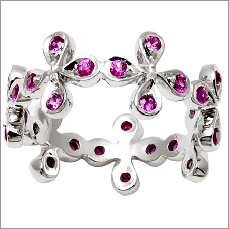jewelry ring for cute girls, flower pink ruby and diamond gold ring for teen girls online, te