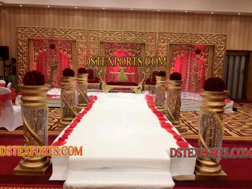 LATEST MUSLIM WEDDING CRYSTAL GOLD STAGE