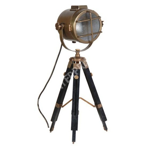 Antique Nautical Marine Tripod Spotlight Lamp