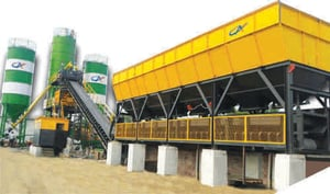 CONCRETE BATCHING PLANT WITH DRUM MIXER, PAN MIXER, TWIN SHAFT MIXER AND PLANETARY MIXER