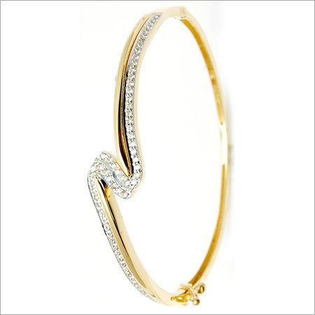 Light Weight Real Diamond Gold Half Bangle
