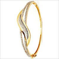 Micro Pave Small Genuine Diamond Half Bangle