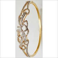 Abstract Flower Design Gold Jewelry Bangle