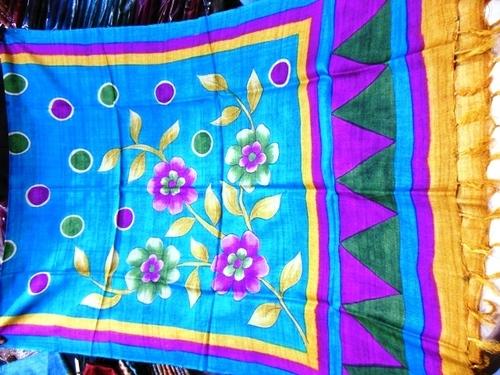 100%Hand painted tussar silk dupattas