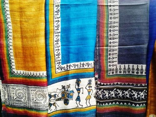 Tussar silk stoles hand block printed